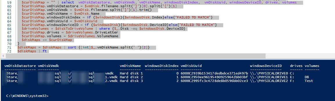 powershell скрипт для сопоставления VMDK дисков VMWare и дисков в виртуальной машине Windows