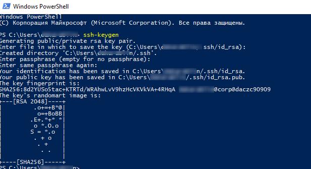ssh-keygen генерация открытого и закрытого RSA ключа в Windows для ssh