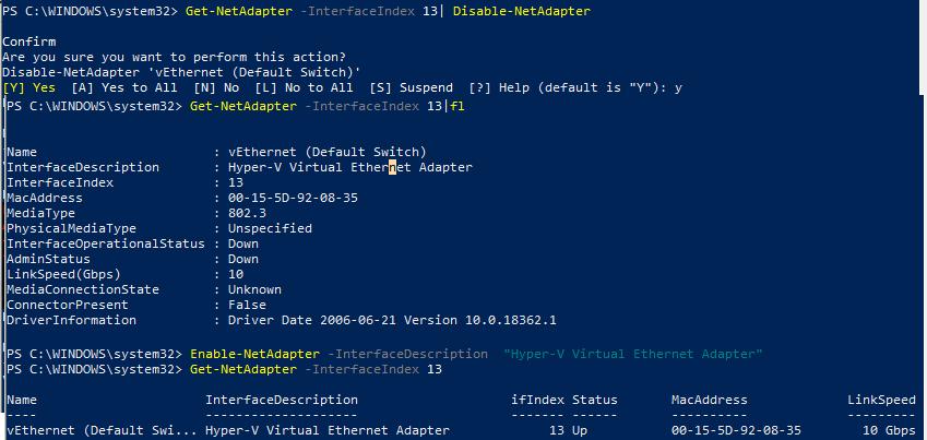 Disable-NetAdapter - включить/отключить сетевой интерфейс