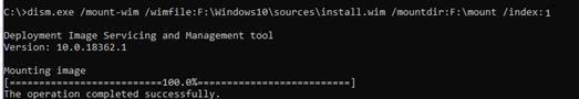 dism.exe /mount-wim /wimfile - смонтировать установочный образ windows 10