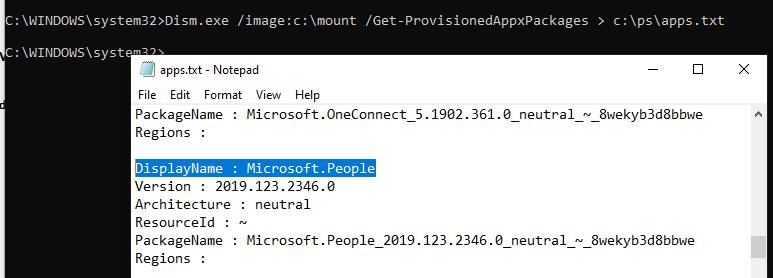 dism получить список встроенных современных приложений в windows 10