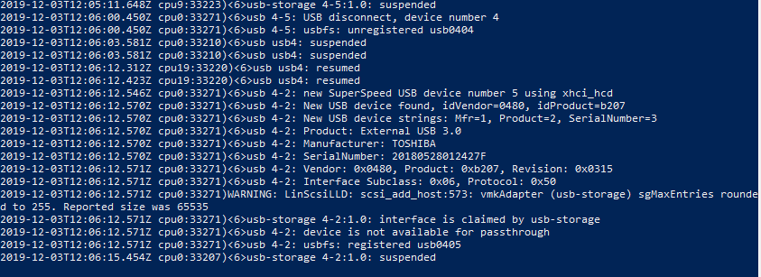 esxi vmkernel.log - лого подключения usb устройства к хосту