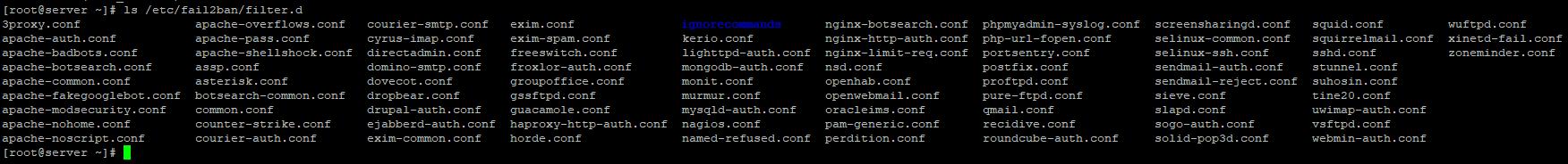 fail2ban/filter.d список поддерживаемых сервисов и служб