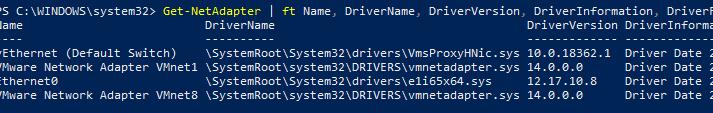 Get-NetAdapter получить версию драйвера сетевого адаптера