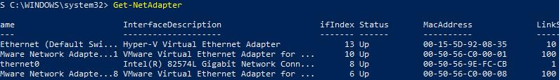 Get-NetAdapter