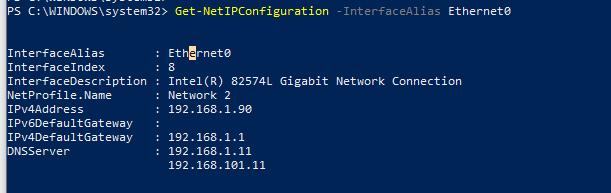 Get-NetIPConfiguration настройка сетевого интерфейса Ethernet0