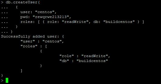 mongodb создать пользователя