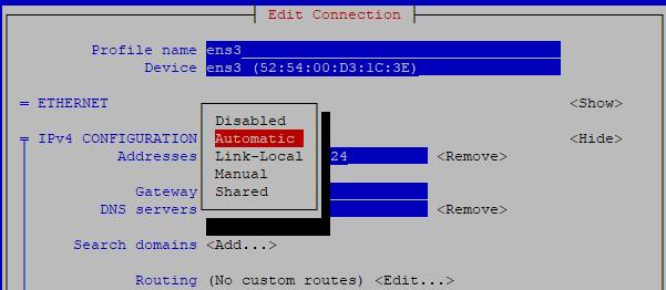 настройка dhcp для интерфейса в network manager
