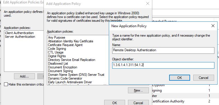 політика СЕРТФІКАТА - для Remote Desktop Authentication