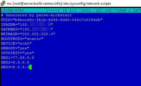 ручная настройка параметров сети в centos через файл /etc/sysconfig/network-scripts