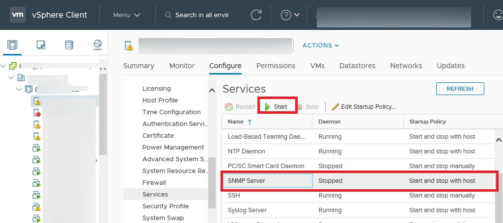 служба SNMP Server на vmware esxi