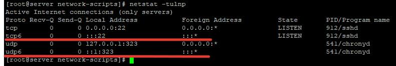 в netstat показывается ipv6 адрес, как полностью отключить на сервере centos