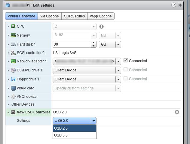 виртуальная машина vmware добавить usb контроллер