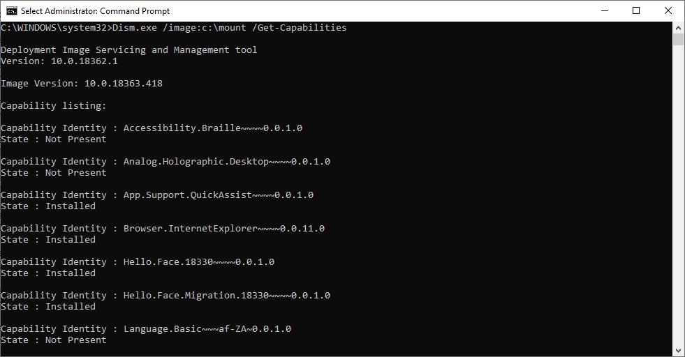 windows 10 - Dism.exe список предустановленных компонентов /Get-Capabilities