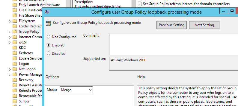 замыкание GPO - Configure user Group Policy loopback processing mode