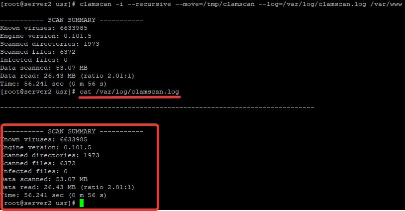 clamscan.log лог с результатеми антсирусной проверки сервера clamav