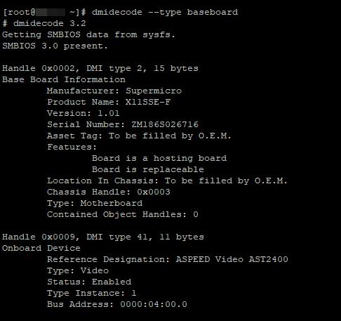 dmidecode --type baseboard