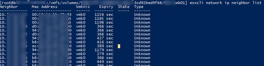esxcli network ip neighbor - список соседних хостов vmware ip и mac адреса