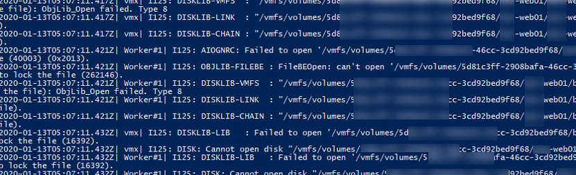 Failed to lock the file в vmware.log