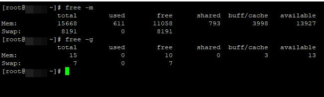 free - информация об оперативной памяти