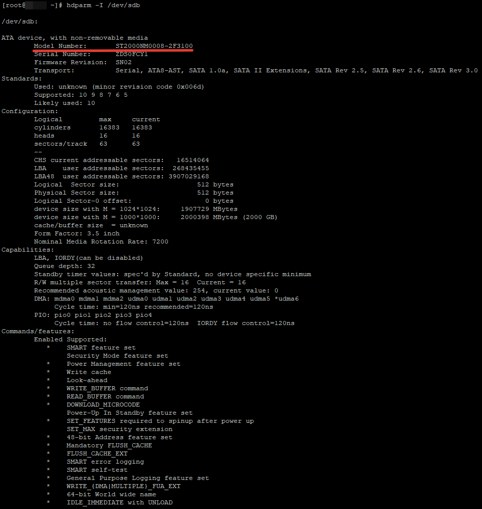 hdparm - просмот інформації про типи жорстких дисків