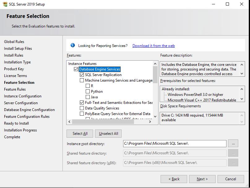 компоненты sql server, какие нужно устаналивать обязательно