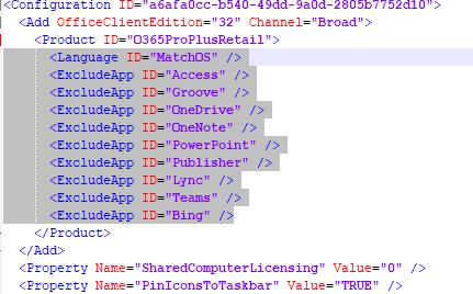 параметр ExcludeApp в xml файлі з настройками установки office