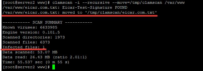 перенос зараженных и подозрительных файлов в карантин clamav