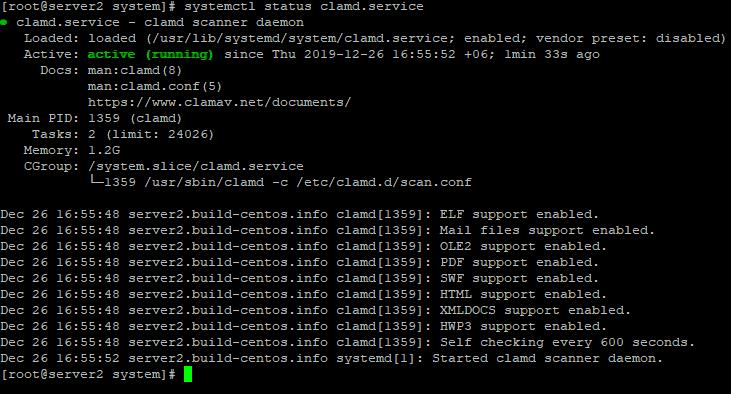 systemctl start clamd.service створюємо сервіс для Антвірус clamav