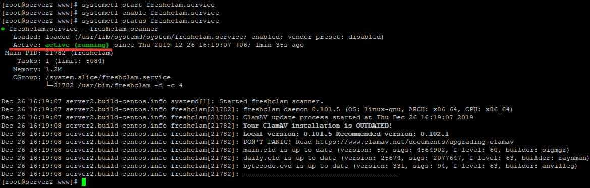 systemctl status freshclam.service