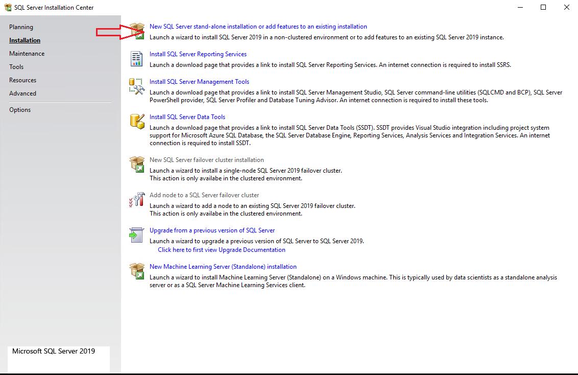 установшик MS SQL Server 2019