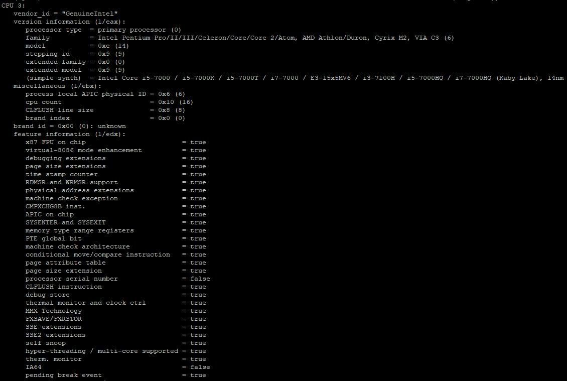 утилита cpuid в linux - подробная информация о CPU