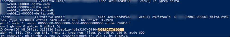 vmkfstools -d vmdk - определить сервер, который заблокировал vmdk или delta файл