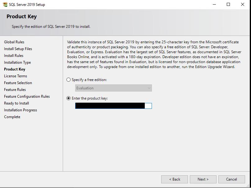 ввести ключ установки sql server