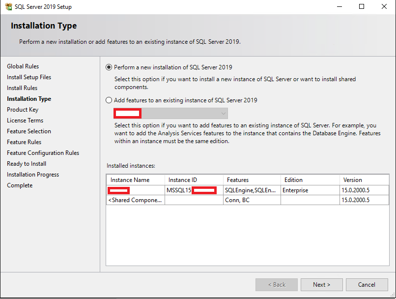 выбор типа установки sql server - новая установка