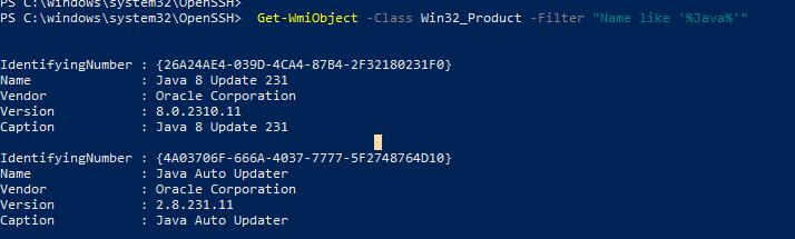 wmi фильтр для вывода установленных версий java
