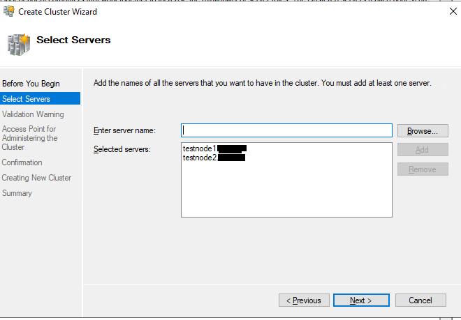 добавить сервера в кластер