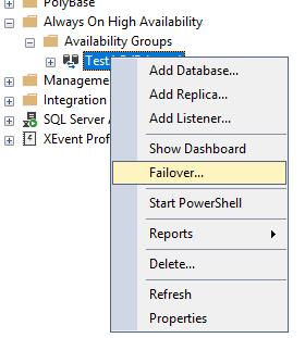 failover - смена активной копии SQL в always on