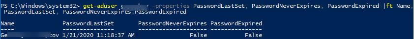 Get-aduser PasswordLastSet - час останньої зміни пароля