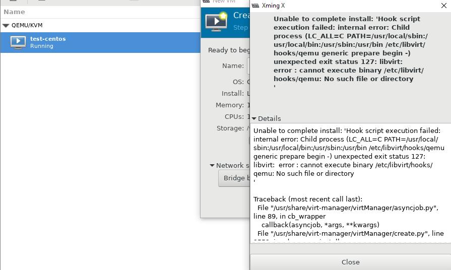 libvirt error: cannot execute binary /etc/libvirt/hooks.qemu: No such file or directory