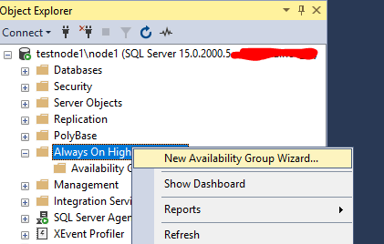 мастер создания SQL Always On - New Availability Group Wizard
