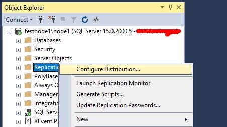 Настройка издателя репликации SQL Server