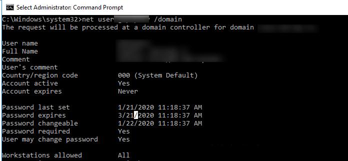 net user отримати термін дії пароля