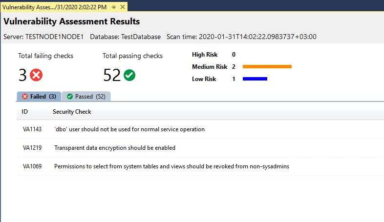обнаруженние уязвимостей в sql server
