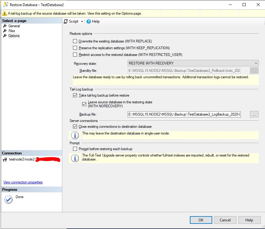 параметры восстановления базы данных sql server из резевной копии