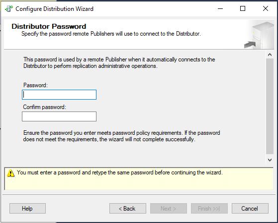 пароль для связи между Publisher и Distributor