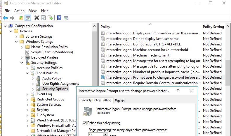 політика повідомлення про неоходимости зміни пароля Interactive logon: Prompt user to change password before expiration