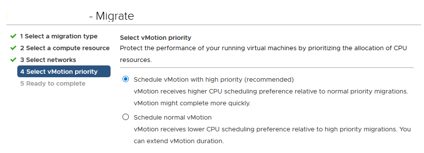 Schedule vMotion with high priority - приоритет vMotion