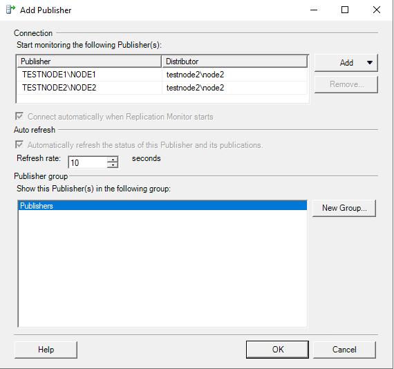 список доступных репликаций в sql server