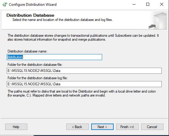 sql server путь к базе данных Distribution